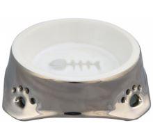 Keramická miska pro kočky stříbrno/bílá 0,15 l/12 cm