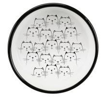 Keramická miska nízka, pre mačky s krátkym ňufákom 0,3l / 11 cm, čierna / biela