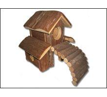 Domček drevený s mostom 1ks VÝPREDAJ
