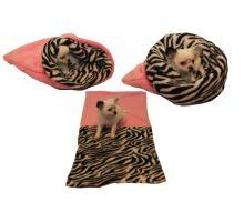 Pelíšek pro štěňátka/koťátka - světle růžová/zebra
