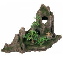 Dekorace skála + jeskyň a rostliny 27cm  VÝPREDAJ