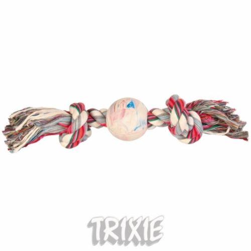 Bavlnená činka s loptou z tvrdej gumy 36cm/7cm TRIXIE