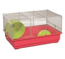 Klietka SMALL ANIMAL Richard šedo-červená so zelenou výbavou 1ks