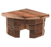 Domček SMALL ANIMAL Rohový drevený s kôrou 16 x 16 x 11 cm 1ks