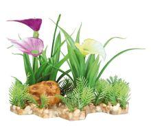 Plastová akvarijné rastlina s kvetmi, na podstavci 13 cm