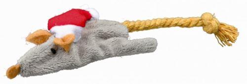 Vianočné plyšová myš / veverička hračka pre mačky 14-17 cm