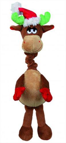 Vianočné plyš.hračka s naťahovacím krkom Santa, los, medvěd40cm