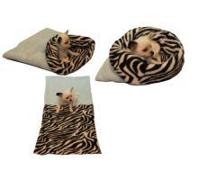 Pelíšek pro štěňátka/koťátka - světle modrá/zebra