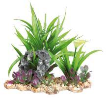 Plastová akvarijné rastlina sa sklakou, na podstavci 18 cm
