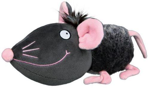 Plyšová myš šedá s rúžovými ušami, nosom a labkami 33 cm