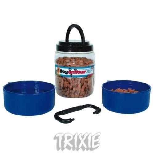 Cestovné plastový zásobník na krmivo 1,75l + 2 misky á 0,65l
