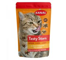 SANAL Cat Tasty Stars Liver - hvězdičky s příchutí jater 40g
