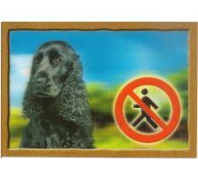 Ceduľka 3D Pozor pes Anglický kokeršpaniel čierny