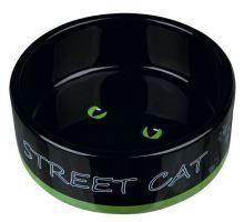 Keramická miska STREET CAT černá s očima 0,3 l/12cm