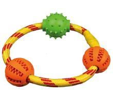 DENTAfun krúžok z lana sa 3 loptičky tvr.guma 20 cm TRIXIE