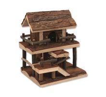 Domček SMALL ANIMAL Dvojposchodový drevený s kôrou 17 x 15 x 20 cm 1ks