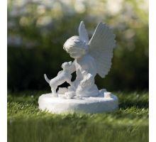 Náhrobný kameň pes s anjelikom, biely 12 x 14 cm