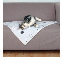 Plyšová deka MIMI 70 x 50 cm šedá s kočičími hlavami