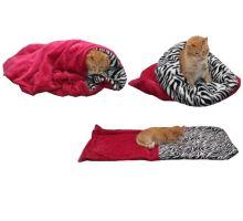 Pelíšek pro kočky XL - fuchsiová/zebra