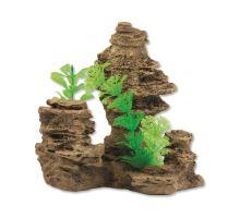 Dekorácie Skála s rastlinou 14 cm 1ks