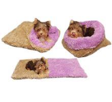 Pelíšek pro štěňátka/koťátka - béžová/fialová - DE LUXE
