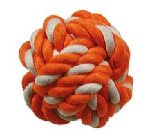 DOG FANTASY lopta bavlnený oranžovo-biely 12,5 cm 1ks