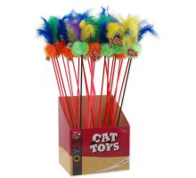 MAGIC CAT cumlík loptička plyšový s pierkami 18 cm + 46 cm 24ks